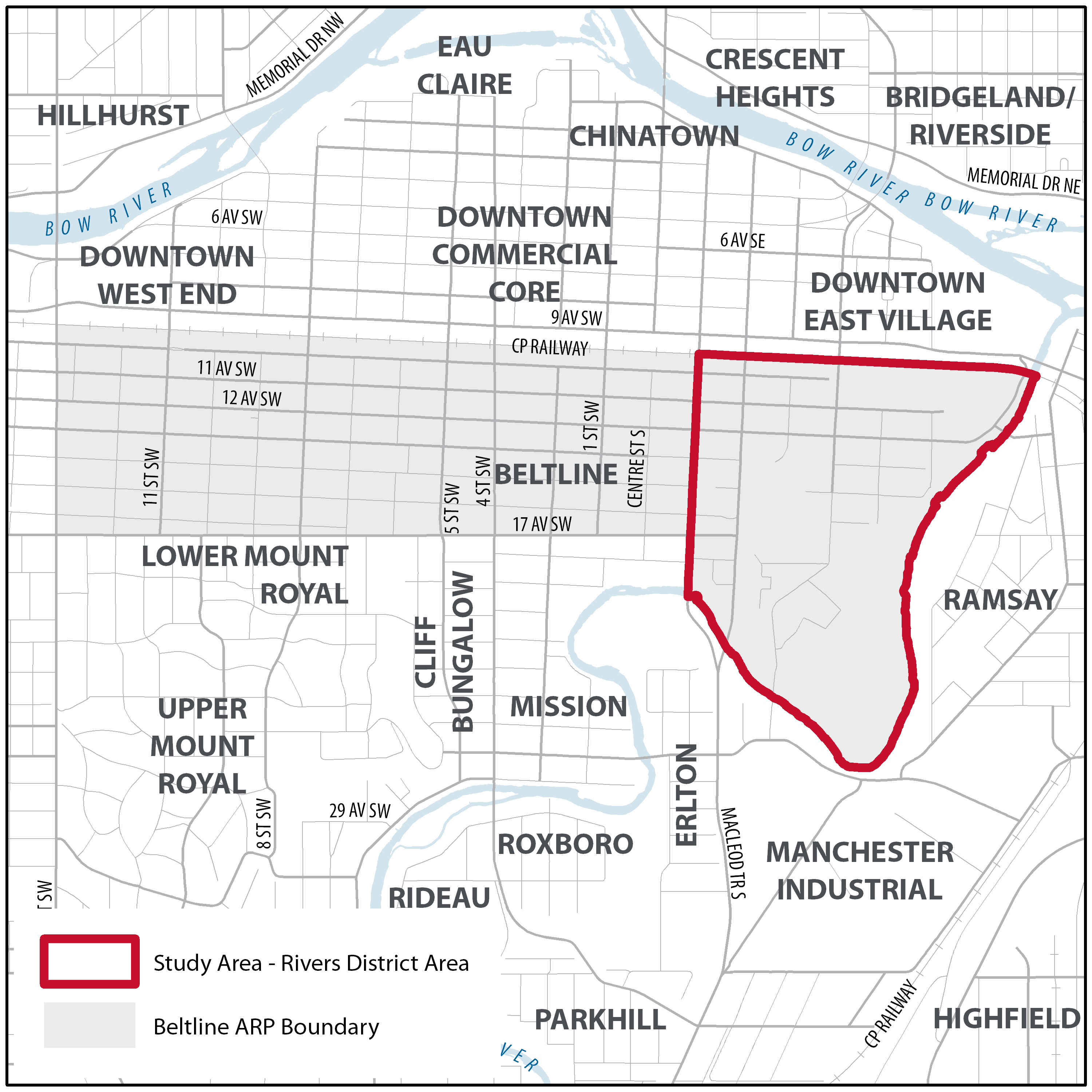 Map showing the Rivers District Study Area Boundary and the Beltline ARP Boundary.