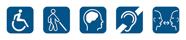 Accessibility icon, Vision loss icon, Cognitive disability icon, Hearing loss icon, Communication access icon