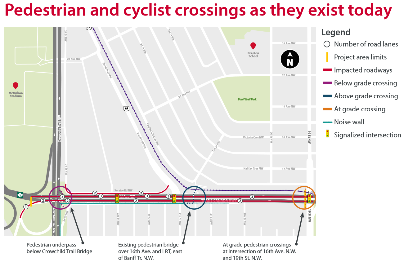 Pedestrian and cyclist crossings as they exist today