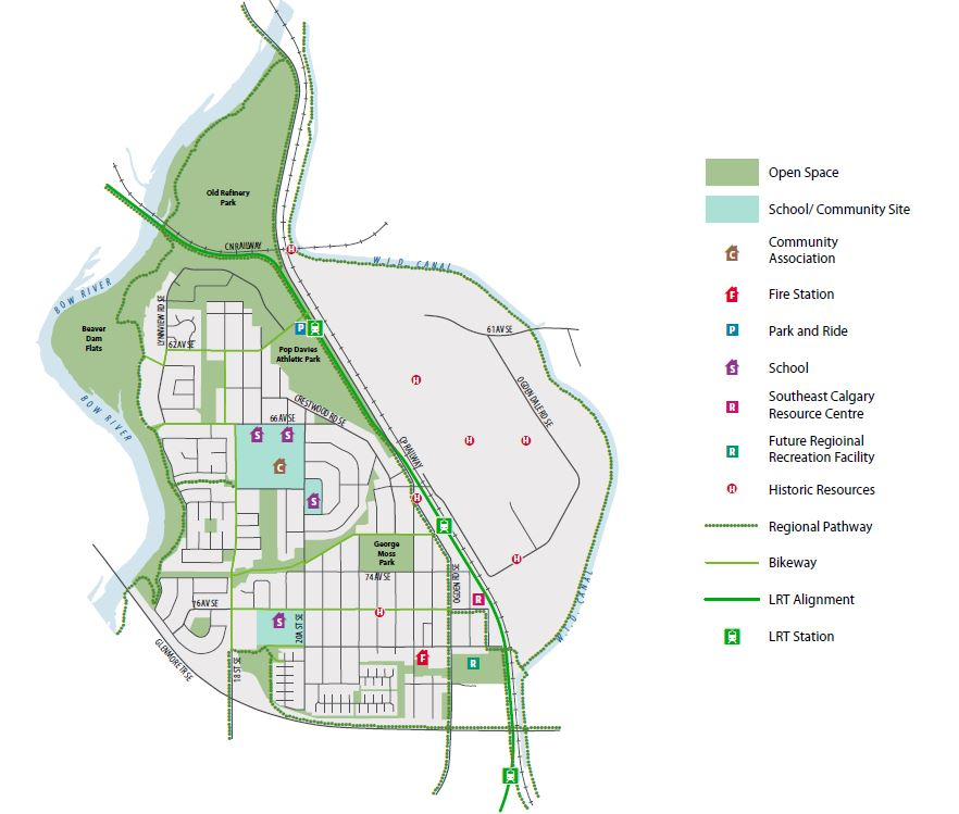 Map outlines the proposed open space network for Millican-Ogden
