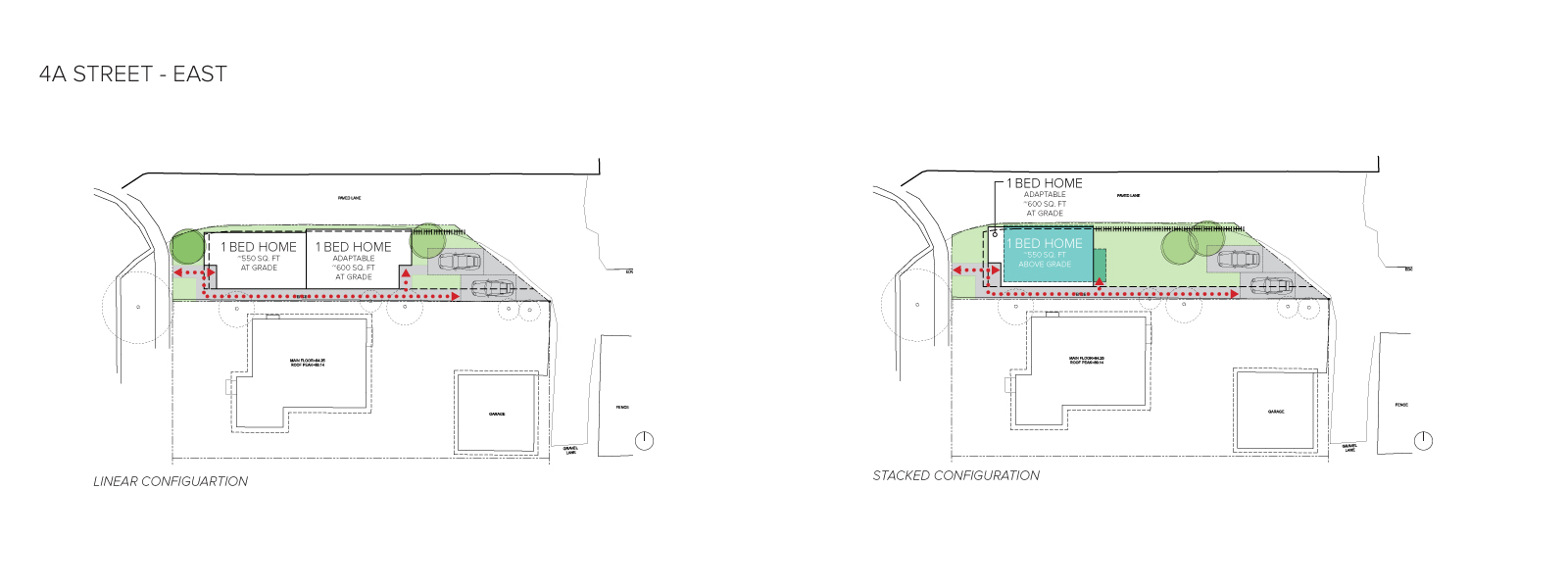 An image of the home configurations on the east side of 4A Street.