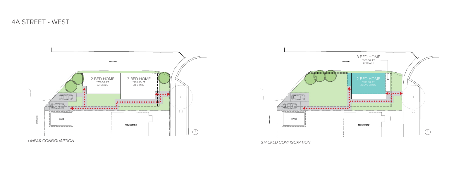 An image of the home configurations on the west side of 4A Street.