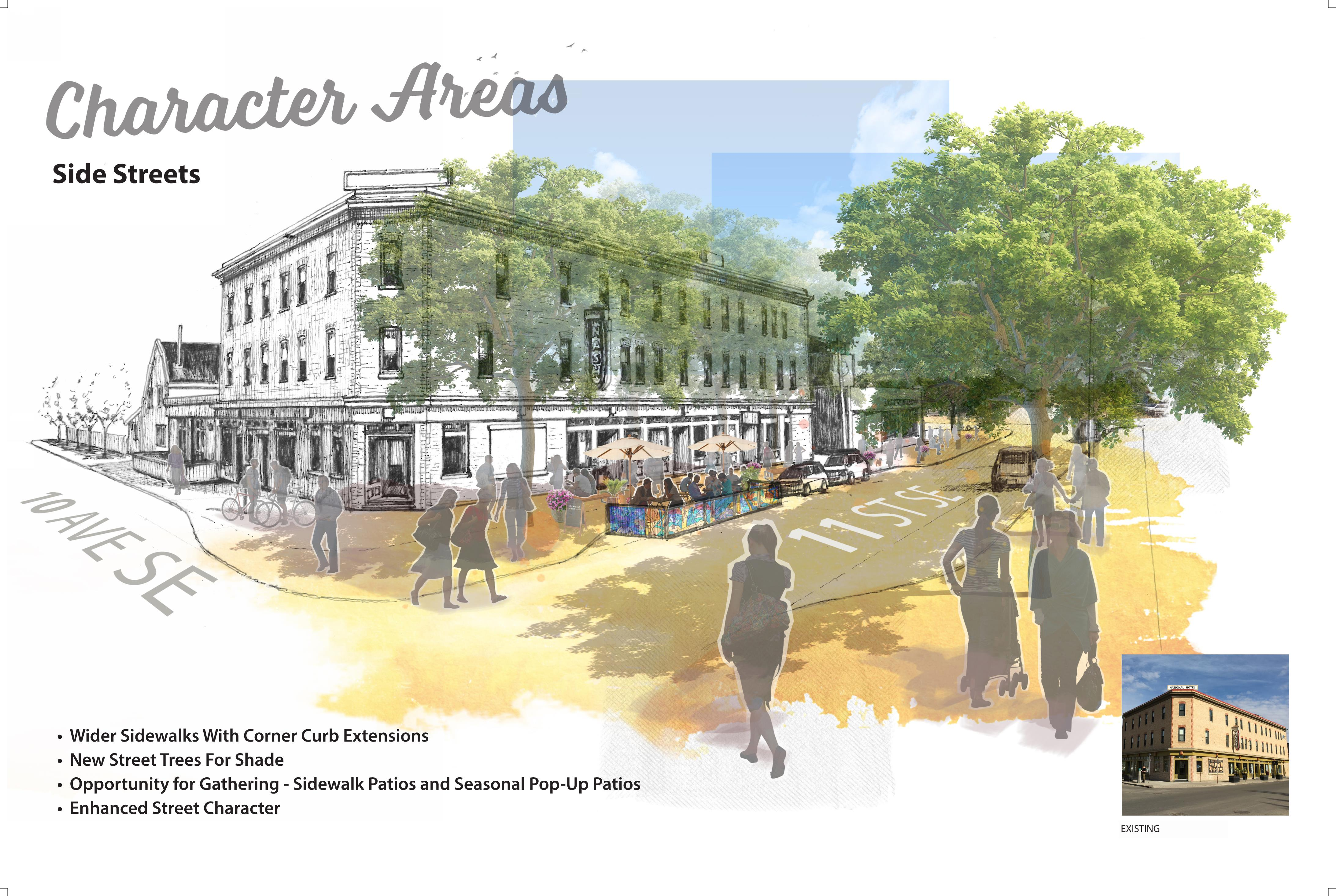 Rendering of side streets character areas