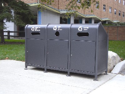 Grey, enclosed waste & recycling bins