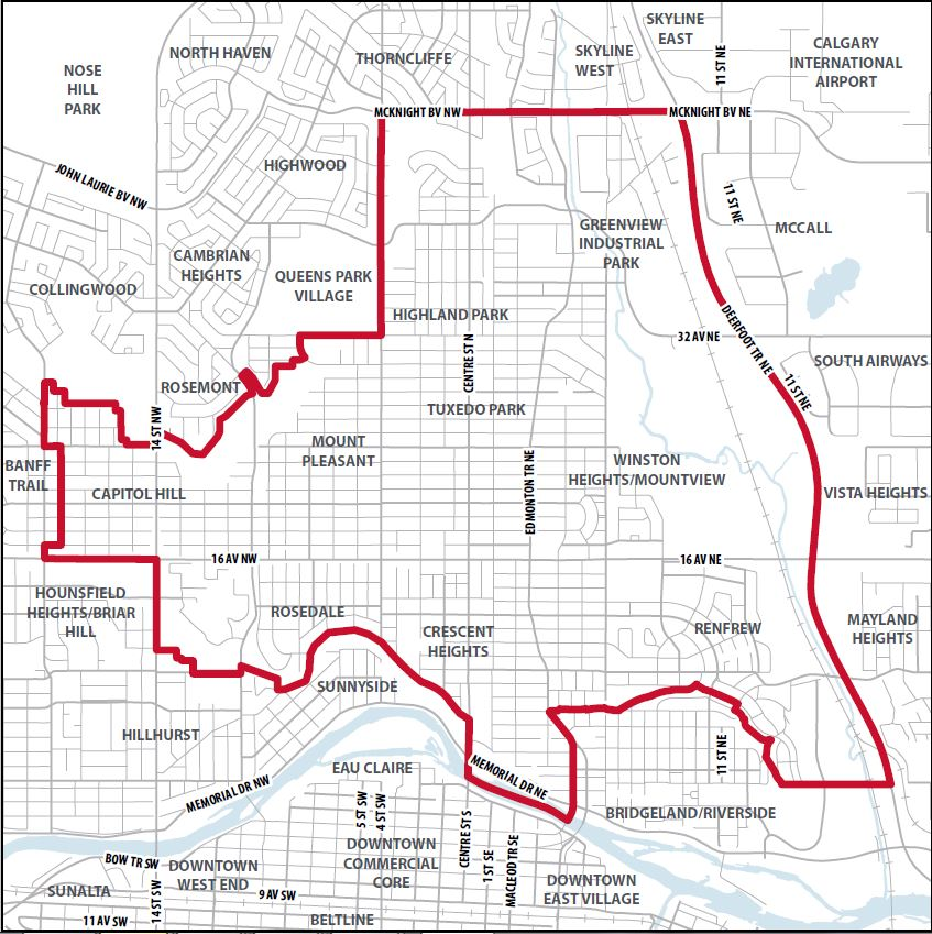 Includes the communities of Greenview, Highland Park, Mount Pleasant, Tuxedo Park, Winston Heights-Mountview, Crescent Heights, Renfrew, Rosedale, Capitol Hill.