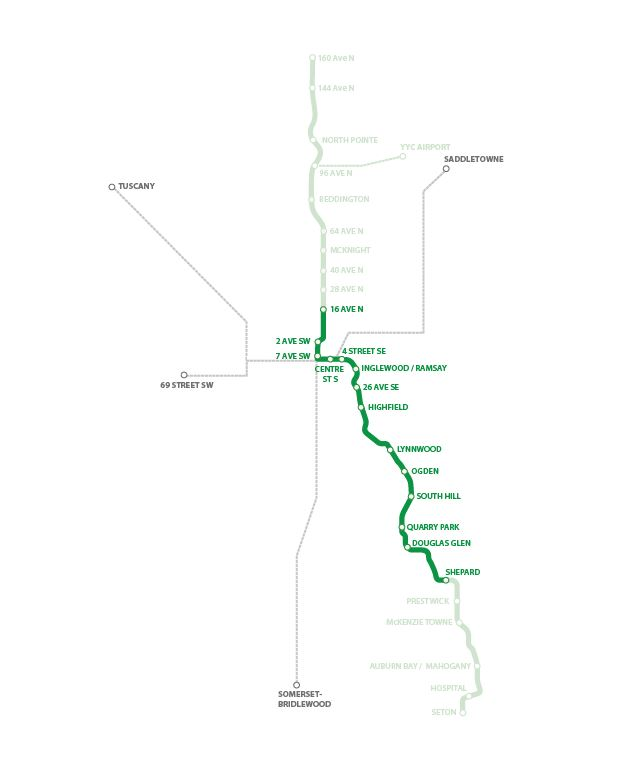 Green Line Stage One Route Map