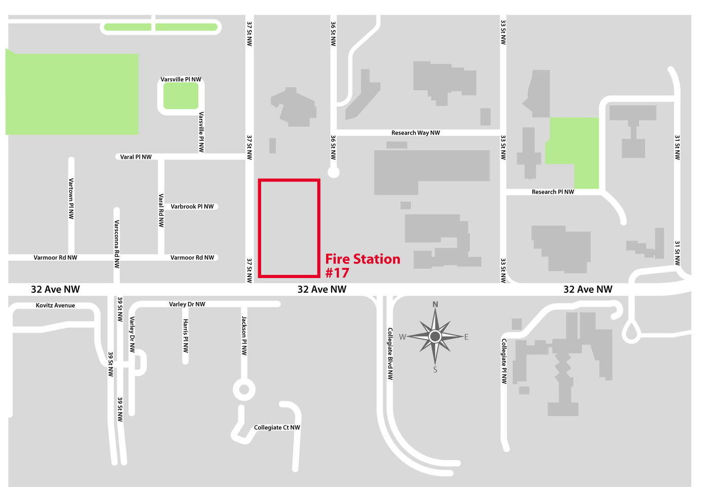 Map of the re-development site at the corner of 32 Avenue & 37 Street NW