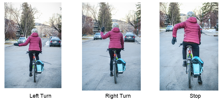 Cyclist from the back in three images showing all permitted hand signals with current bylaw. Left arm extended left still signals left turn, left arm with bent elbow and hand pointing up signals a right turn and left hand with elbow bend and hand pointed