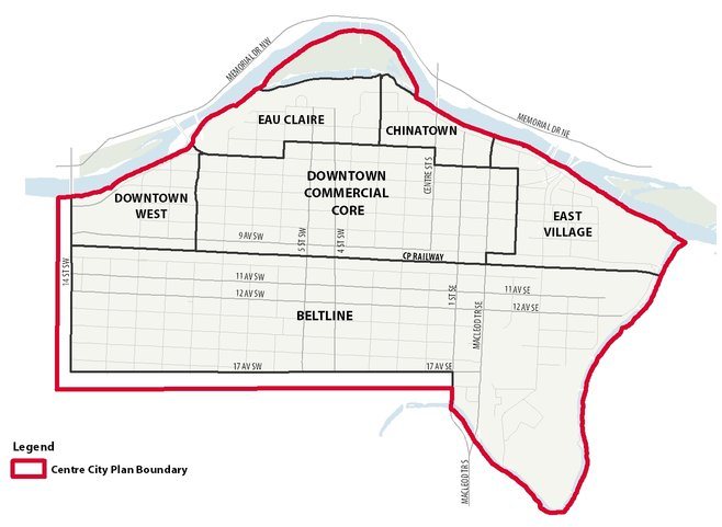 This map show the communities that make up the Centre City: Eau Claire, Downtown West, Beltline, East Village, Chinatown, and the Downtown Commercial Core.