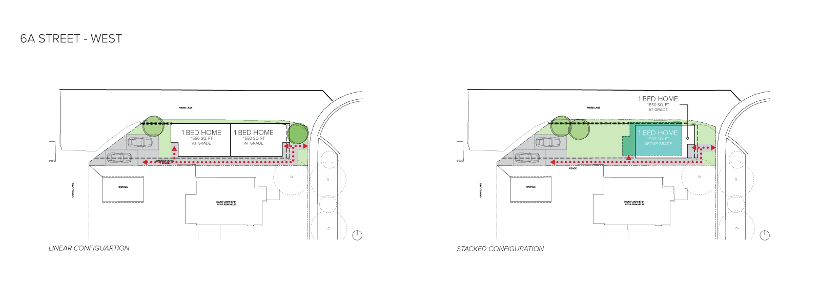 An image of the home configurations on the west side of 6A Street.