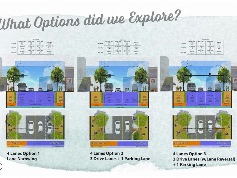 rendering of the three options for 9 ave street composition