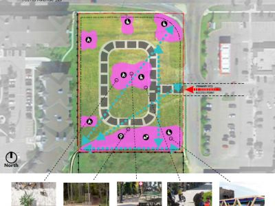 Community spaces, play space & pedestrian movement