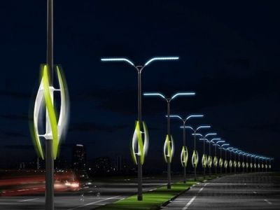 Street lights powered by glowing wind turbines