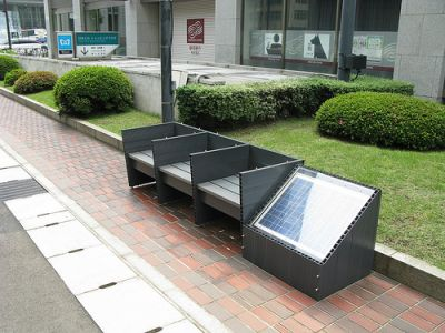 Solar pannels for cell phone charging intergrated into the side of benches