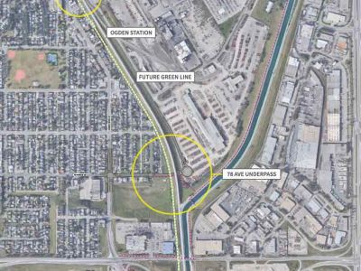 Image shows the proposed closure of 69 Avenue S.E. at Ogden Road, and the proposed tunnel under the CP tracks at 78 Avenue S.E.