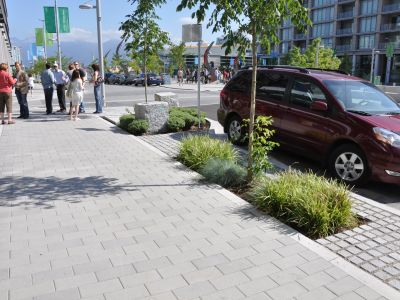 Patterned sidewalk pavers with street trees and landscaping