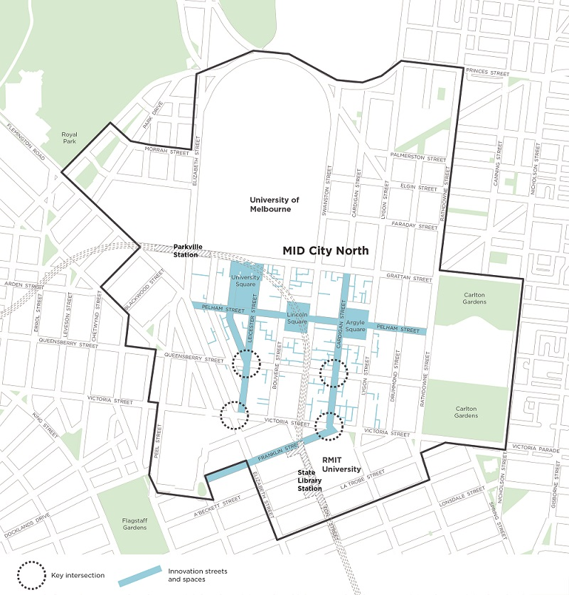 Map of Melbourne Innovation Districts