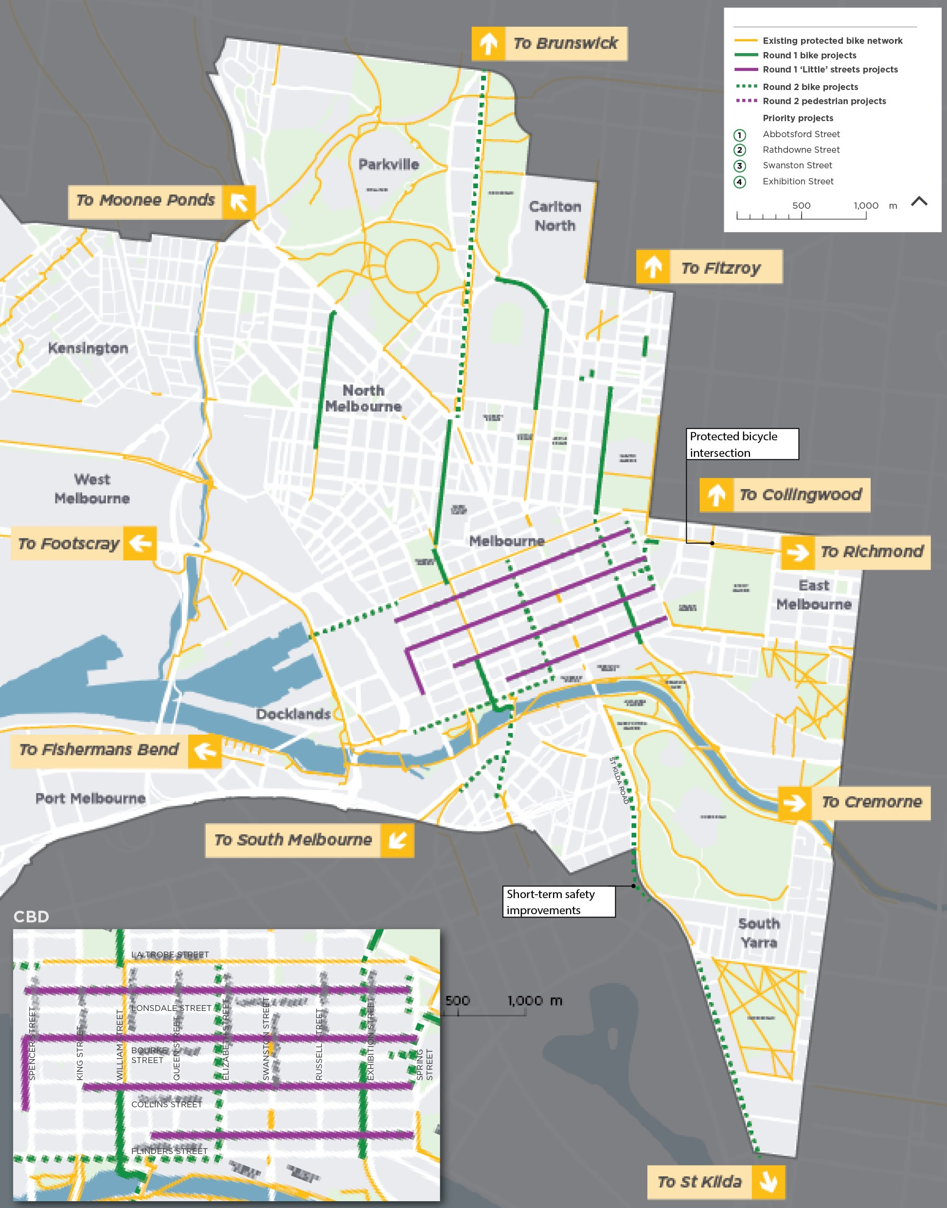 Map of new bike lanes