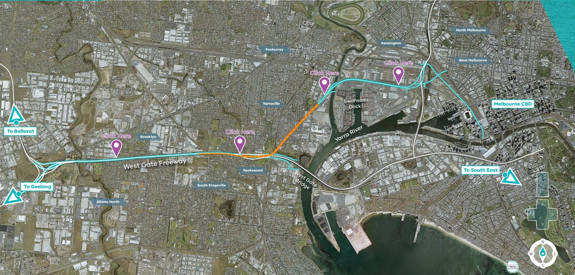 West Gate Tunnel map