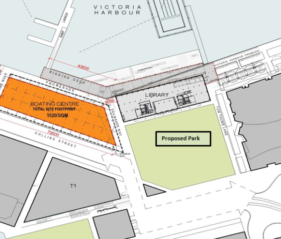 Map showing location of Buluk Park near Collins Street and Library at the Dock