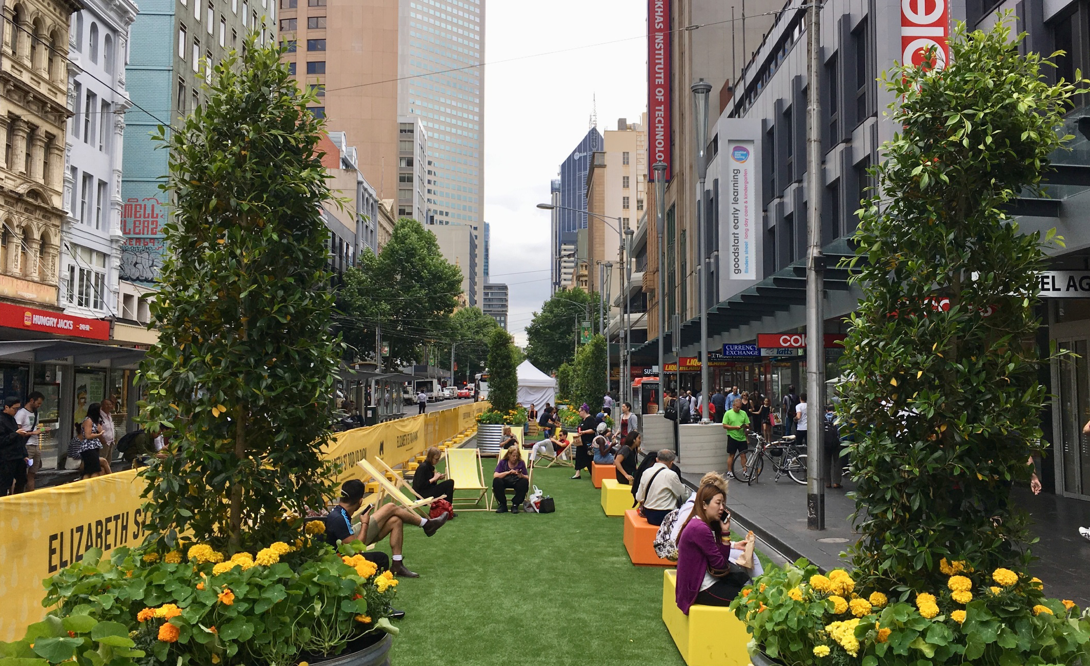 Elizabeth Street pop-up park over 2017/18 summer