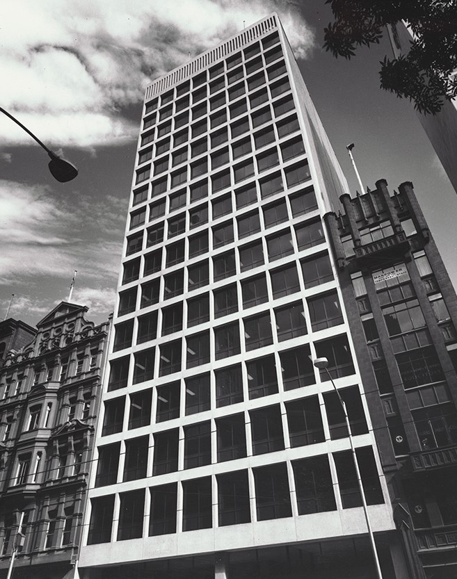 Black and white photo of AMP building