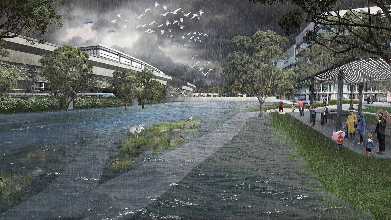 Artistic impression of the Macaulay Terrace during a major rain event