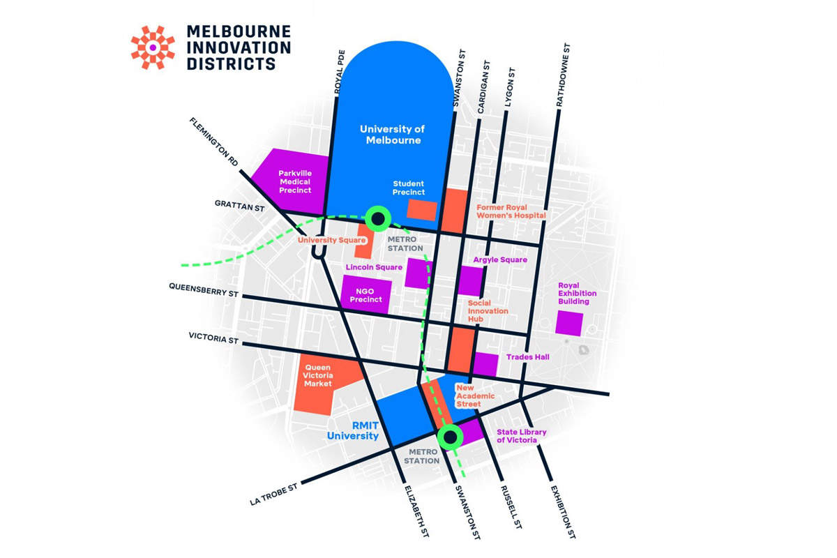 Melbourne Innovation Districts map