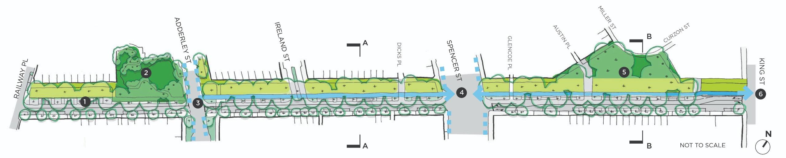 Hawke Street Linear Park map