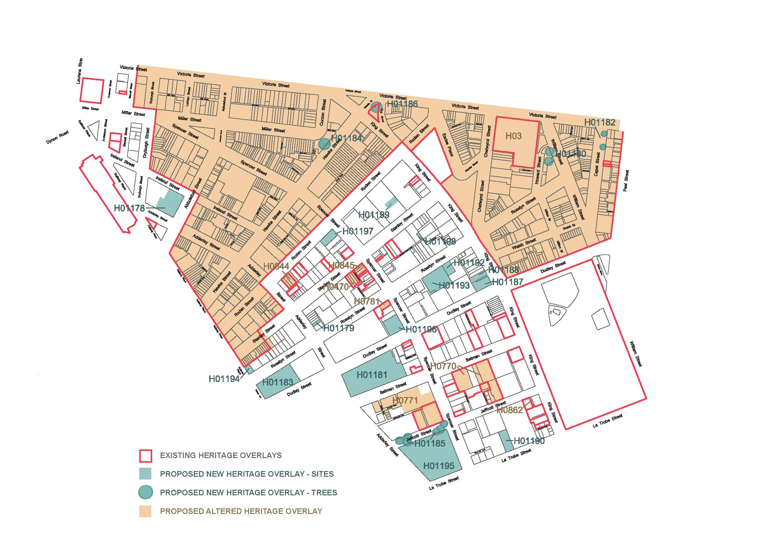 Map of West Melbourne Heritage Review Area (C258 - West Melbourne Heritage Review)