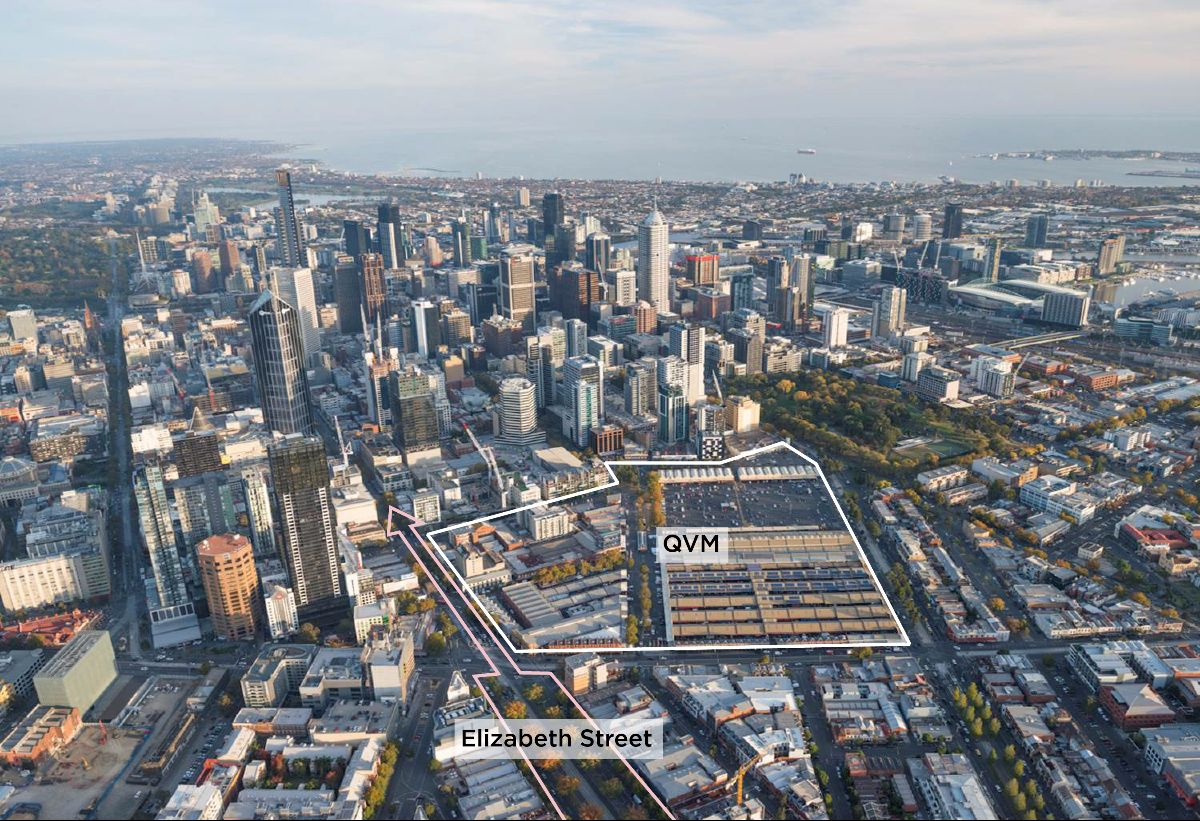 Birds eye view of Melbourne with a boundary line around QVM and Elizabeth Street.