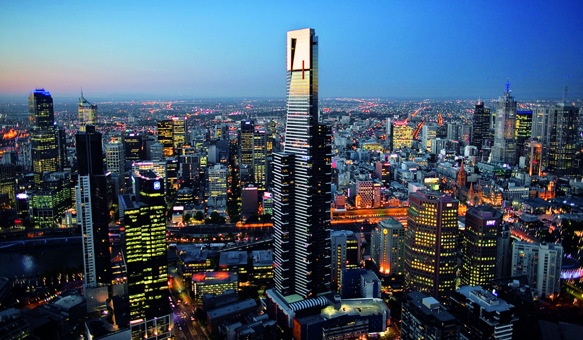 Melbourne skyline looking at Eureka Tower