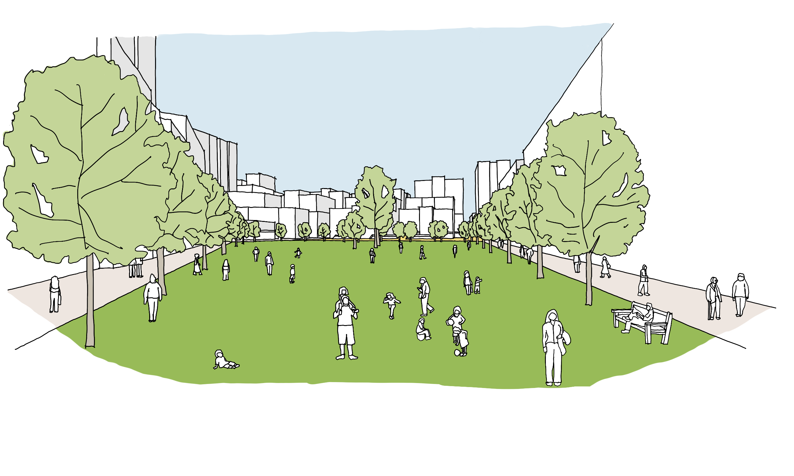 Artist's impression of the view looking north from the southern end of the new neighbourhood park in Arden Central. Indicative only for illustrative purposes.
