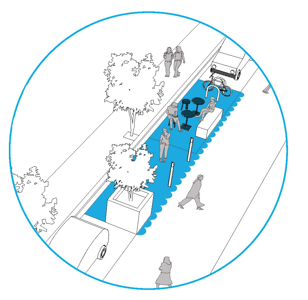 Illustration of people sitting on outdoor furniture, bike parking, and people walking on extra footpath space.