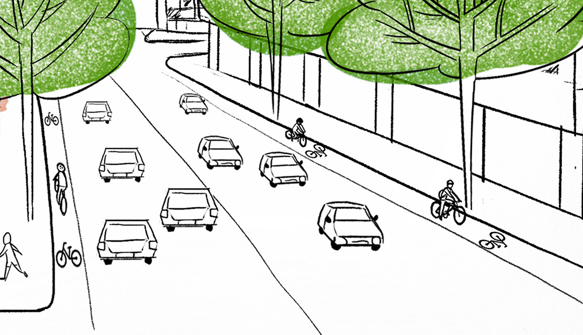 New bicycle lanes are proposed on both the west bound and east bound lanes of the reconfigured Southbank Boulevard.