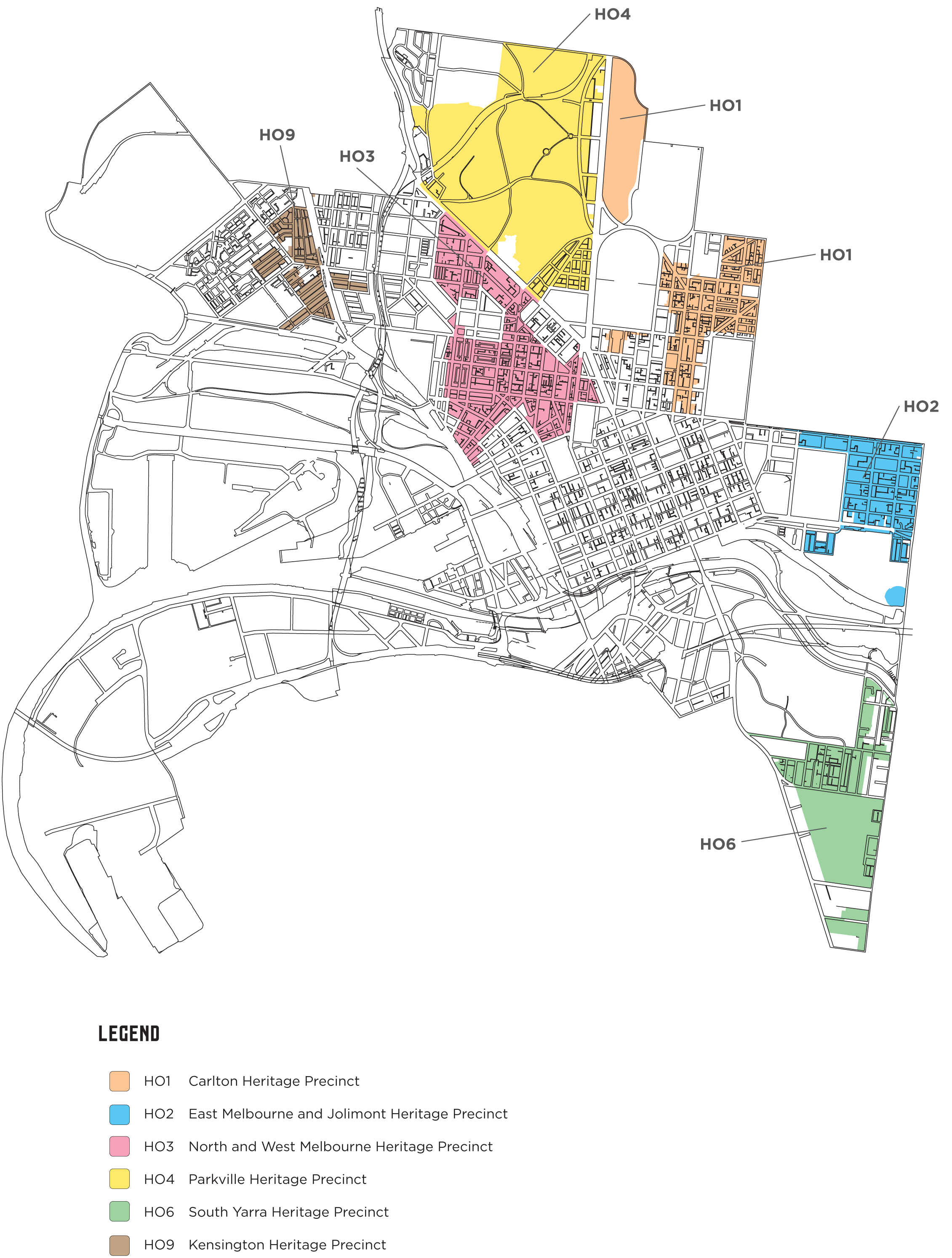 Map of the six (6) large Heritage Overlay precincts outside the central city