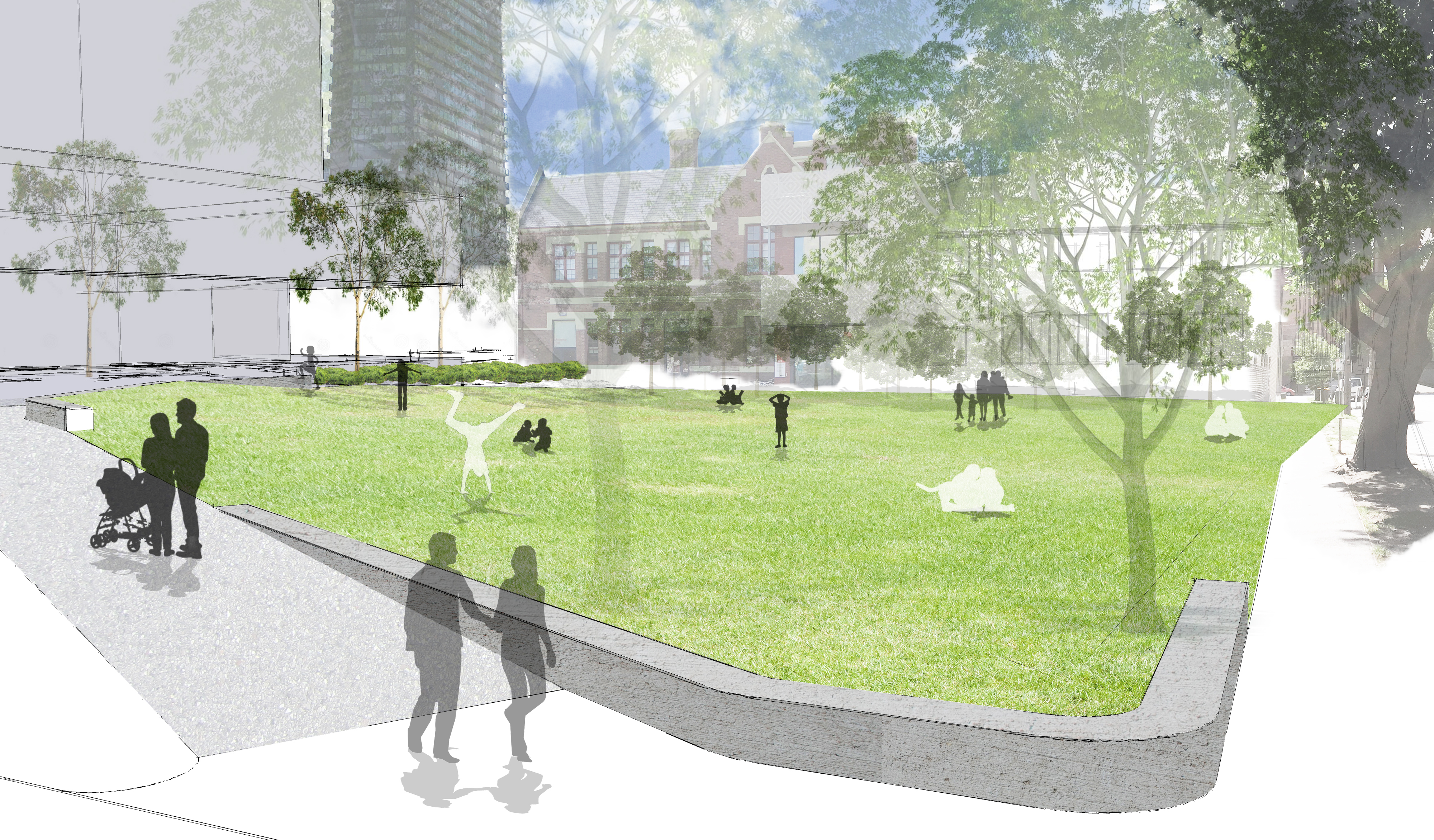 Artist's impression of the Village Green.