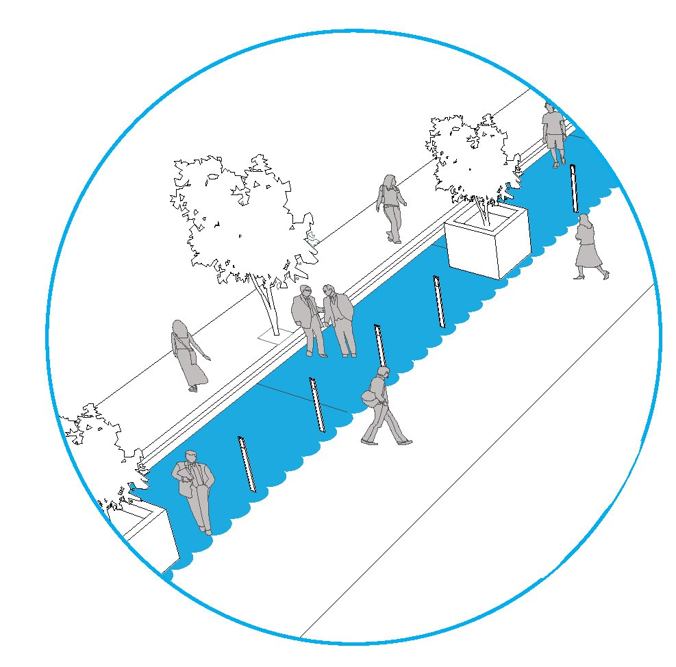 Illustration of widened streets, planter boxes and people walking.