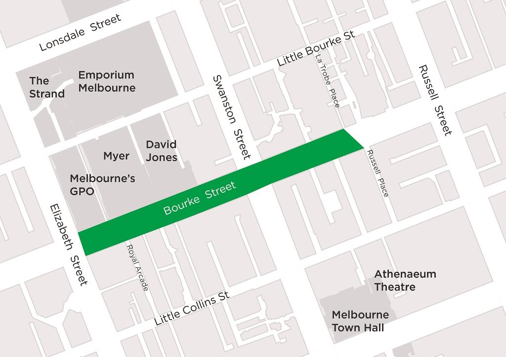 Map of smoke-free area on Bourke Street