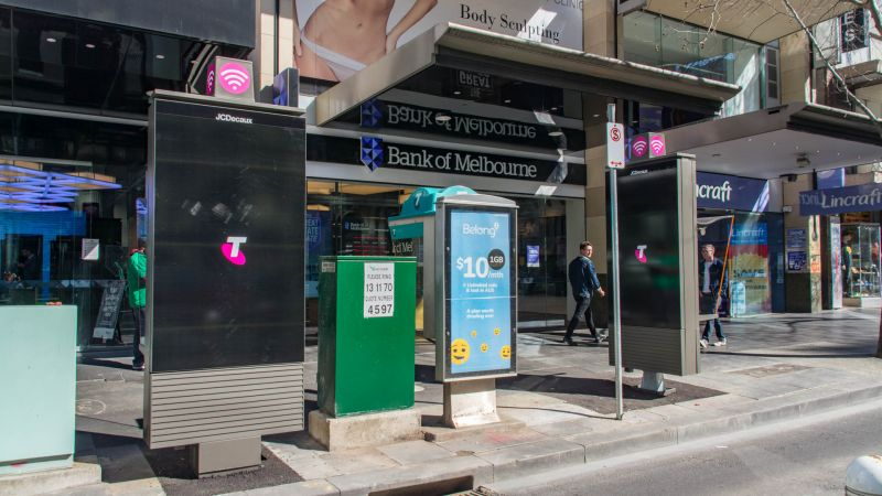 Digital advertising payphones in the north west corner of Elizabeth and Bourke Street