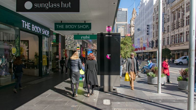 Newly installed digital advertising payphones in Bourke Street Mall