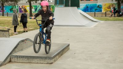 Girl on BMX bike