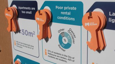 Orange cardboard keys hanging on the poster, to be moved around by participants.