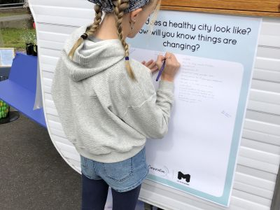 Contributing ideas at Kensington Town Hall