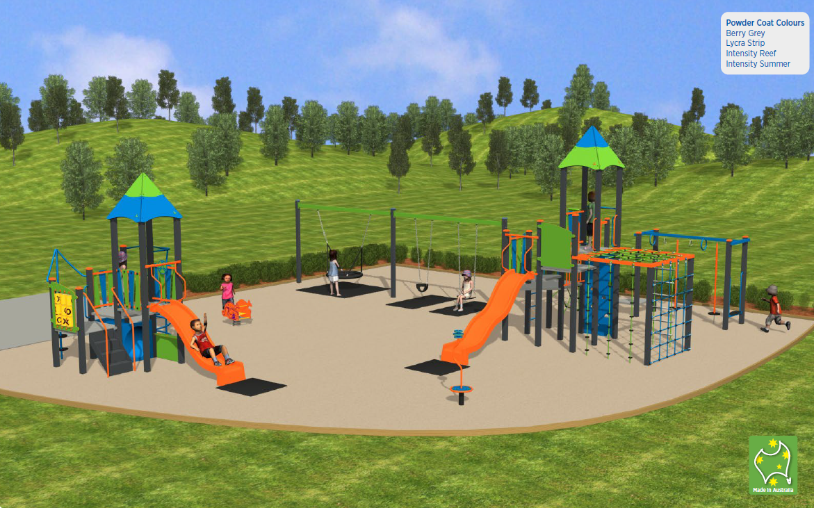 After: Computer generated image of what the play space will look like after upgrade