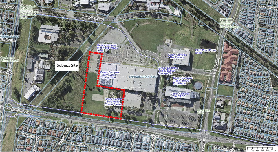Picture of Casey Complex with land sale parcel identified