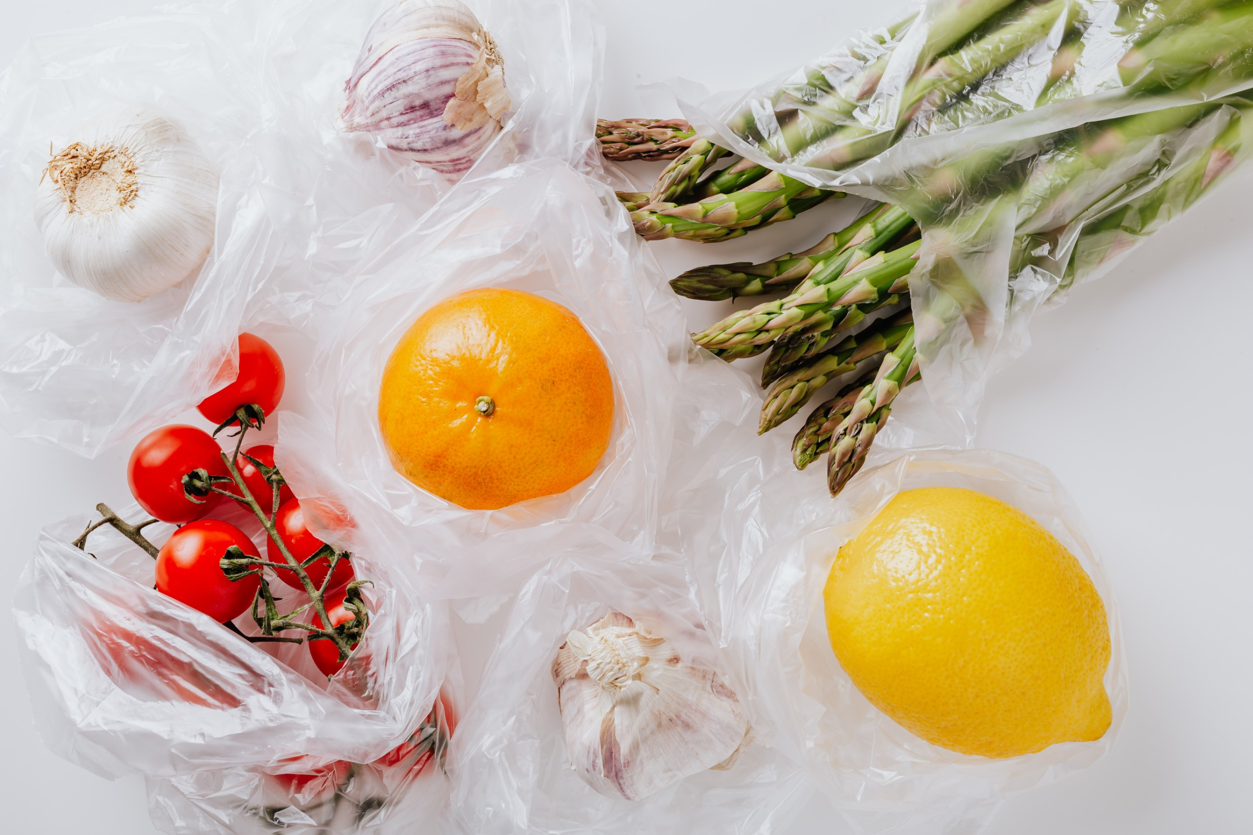 Fruits in plastic bags