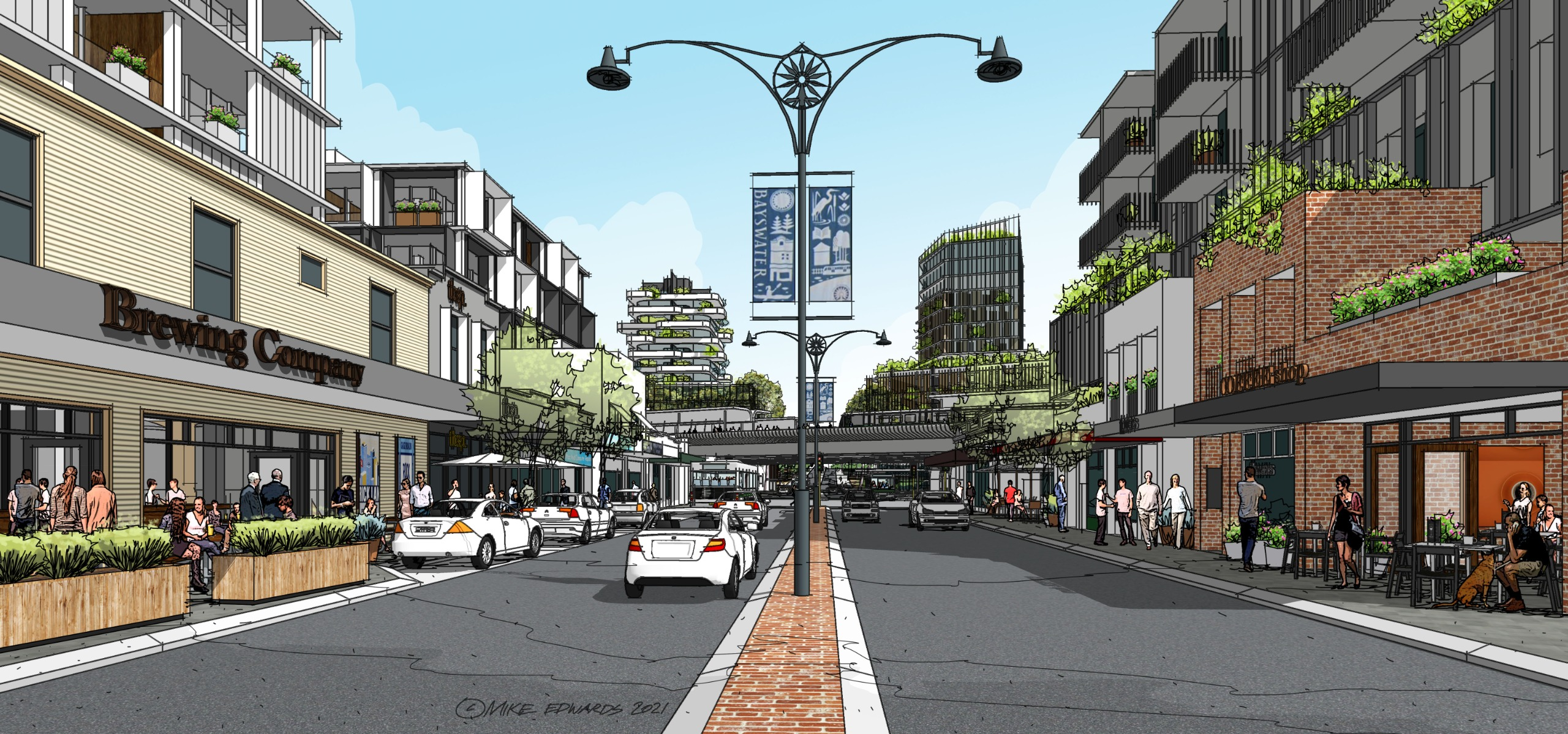 Artist impression of King William Street facing north towards Coode Street
