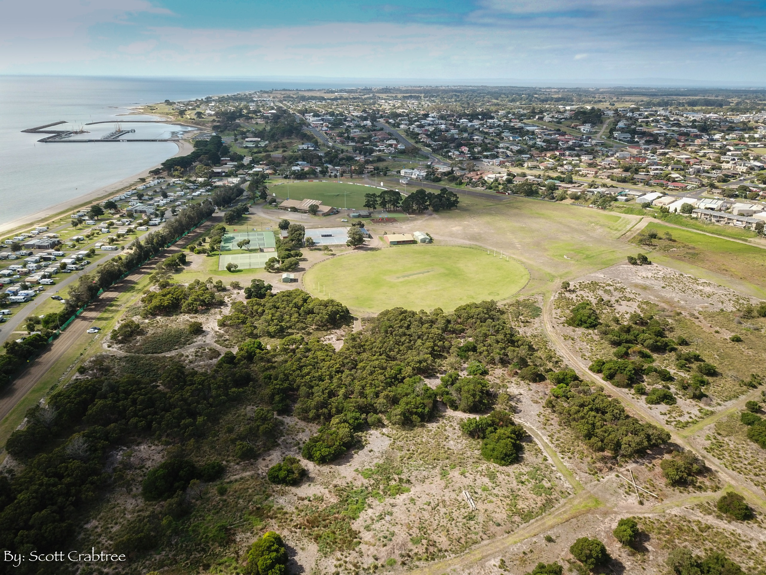 Aerial view of reserve looking east