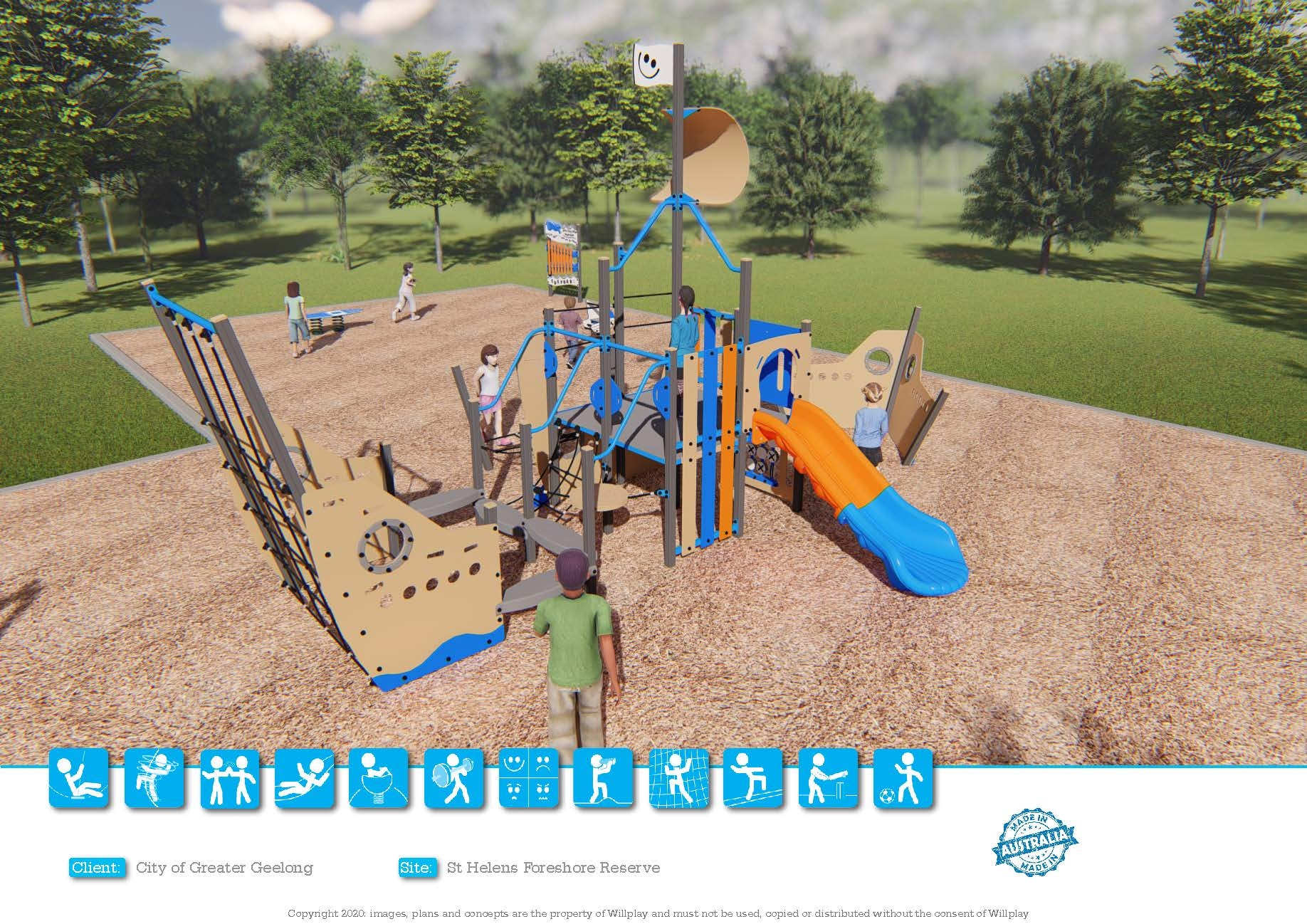 St Helens Forehore Reserve - proposed playground design